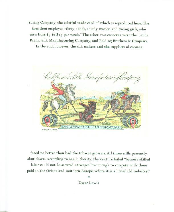Image for California Silk Manufacturing Trade Card keepsake 1966