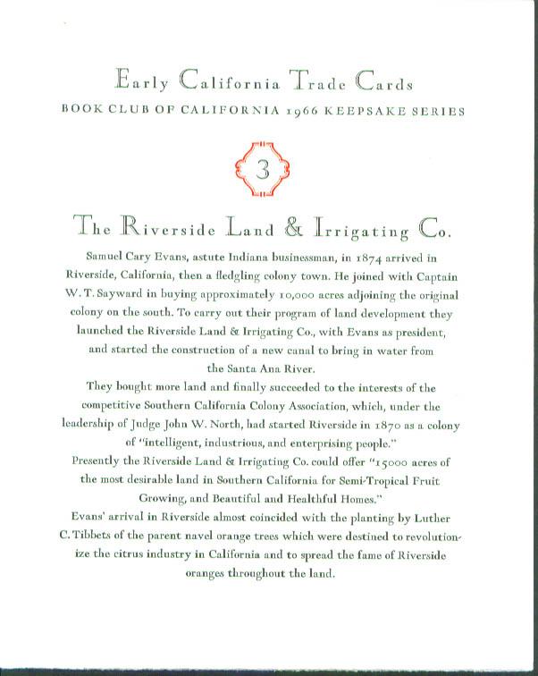 Image for Riverside Irrigating California Trade Card keepsake '66