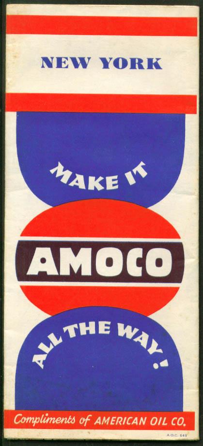 Amoco Gasoline Road Map New York 1949