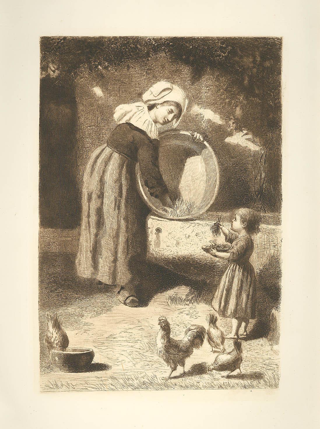 Image for Breton Courtyard etching James S King 1885