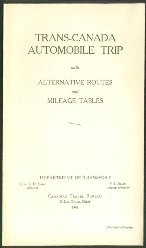 Trans-Canada Auto Trip & Alternate Routes folder 1940