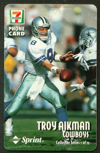 Troy Aikman 7-Eleven Sprint Phone Card undated