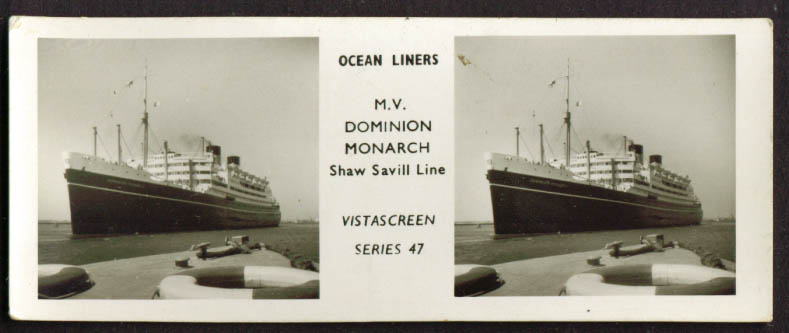M V Dominion Monarch Vistascreen stereo view 1940s
