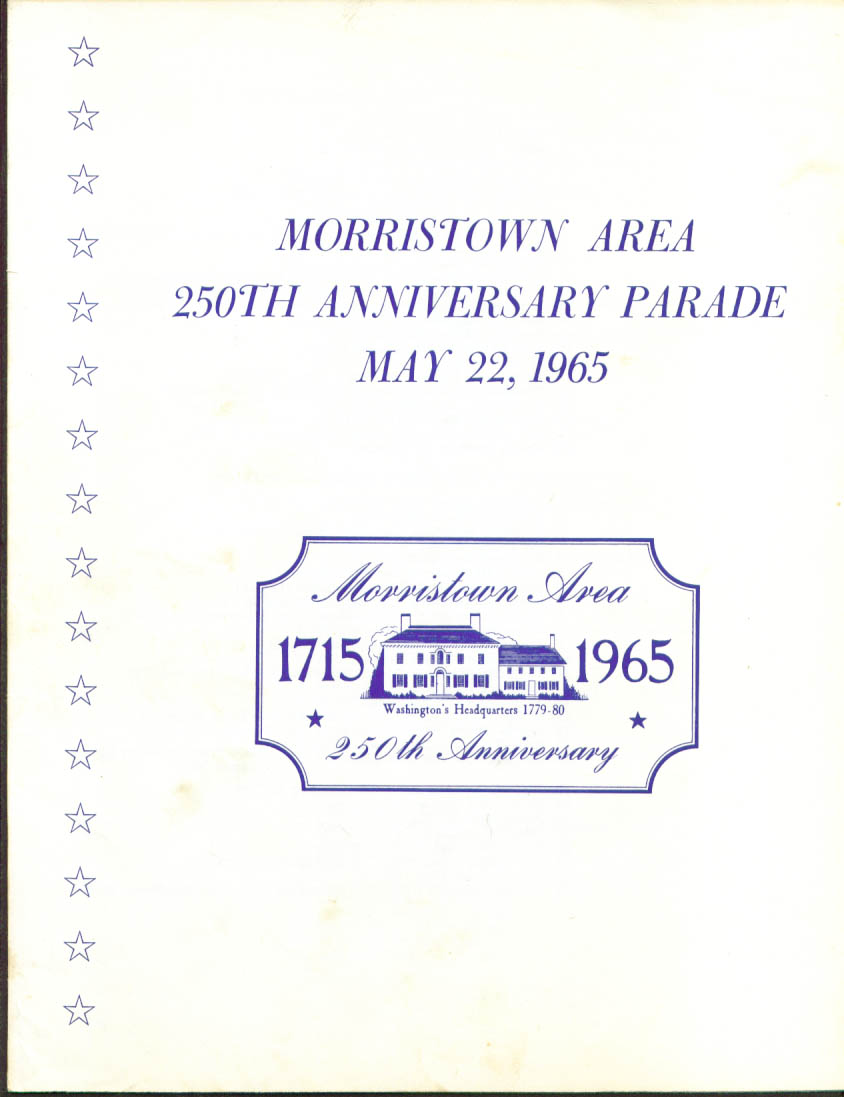 Morristown Area 259 Anniversary Parade program 1965 NJ