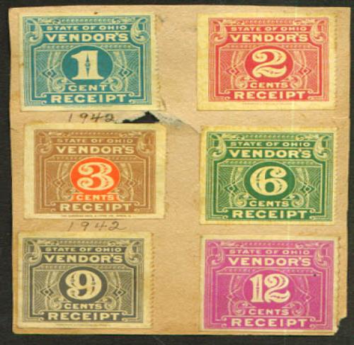 State of Ohio Vendor's Receipt 1¢ 2¢ 3¢ 6¢ 9¢ 12¢ 1942