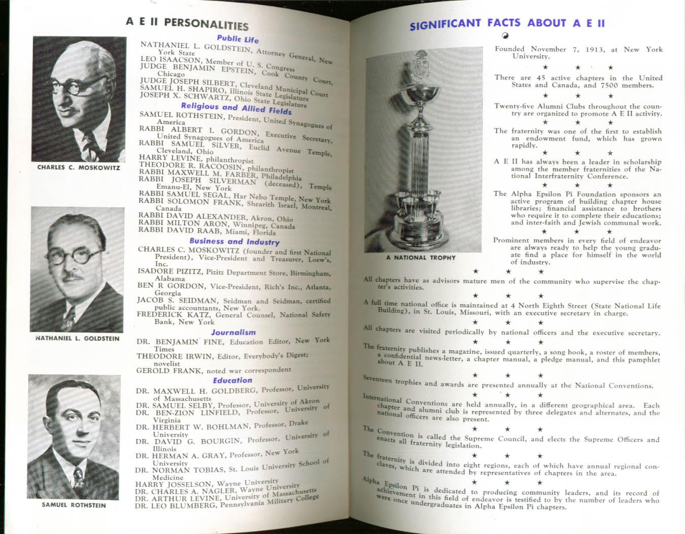 Alpha Epsilon Pi Fraternity Facts booklet University of Pennsylvania 1940s