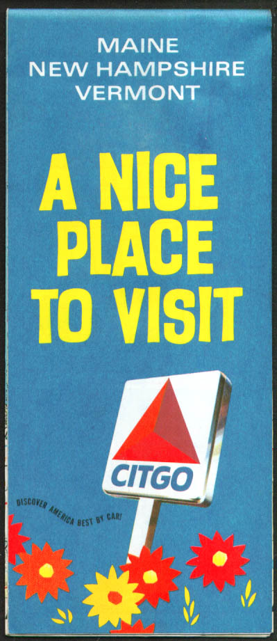 Citgo Gas Road Map Maine New Hampshire Vermont 1970