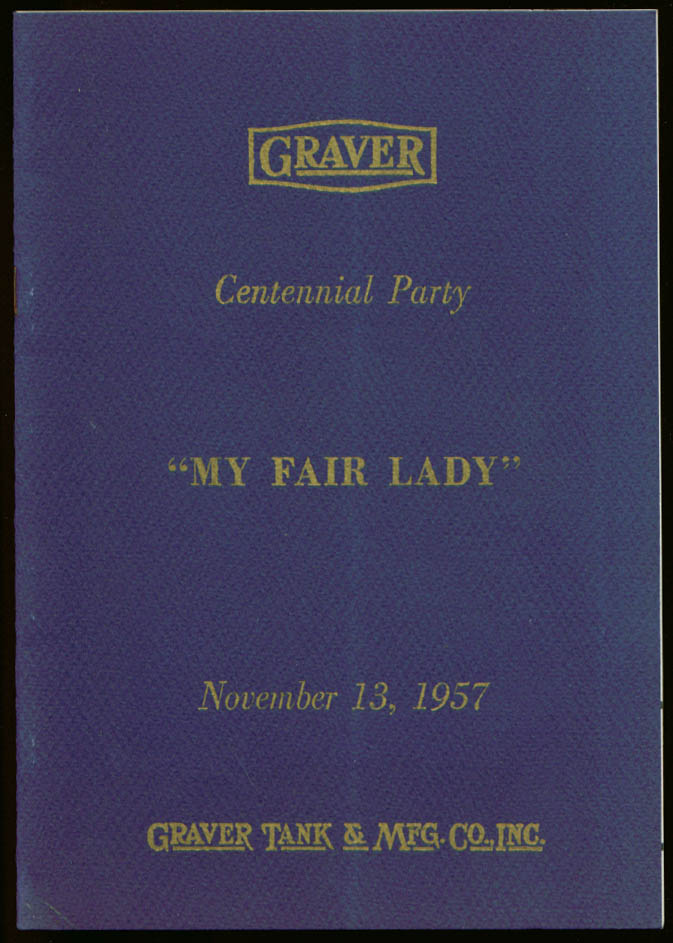 Graver Tank Centennial My Fair Lady program Shubert Theatre Chicago 1957