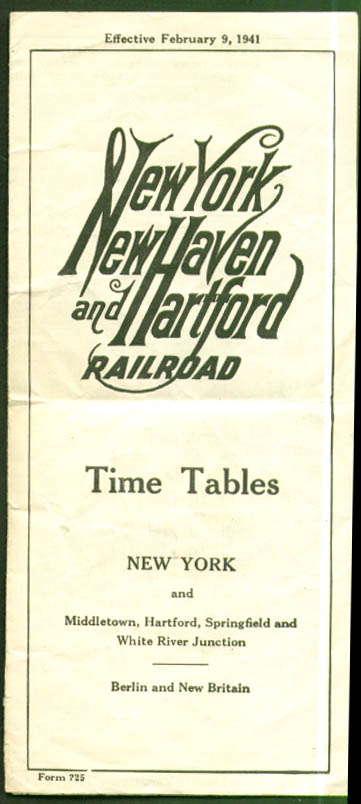 Image for New York New Haven & Hartford RR Time Tables 2/9/1941