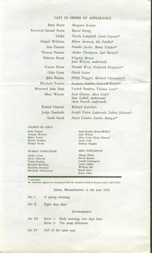 Arthur Miller The Crucible Robert Ward Opera program 1964