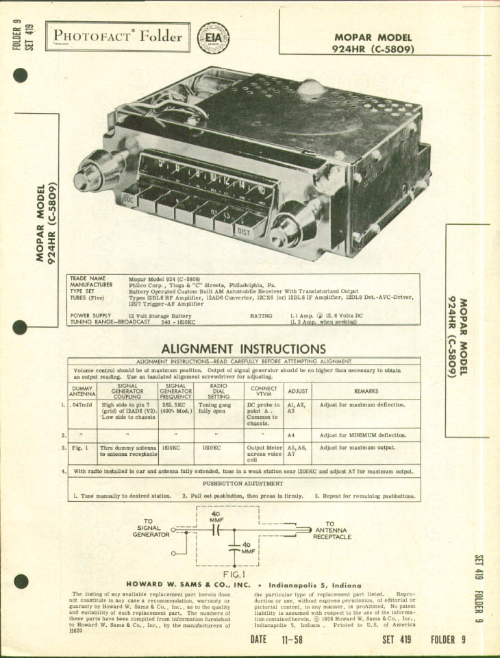 1958 MoPar Radio 924HR Photofact Folder
