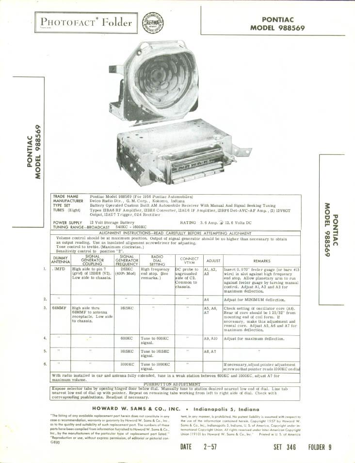 1957 Pontiac Radio Model 988569 Photofact folder