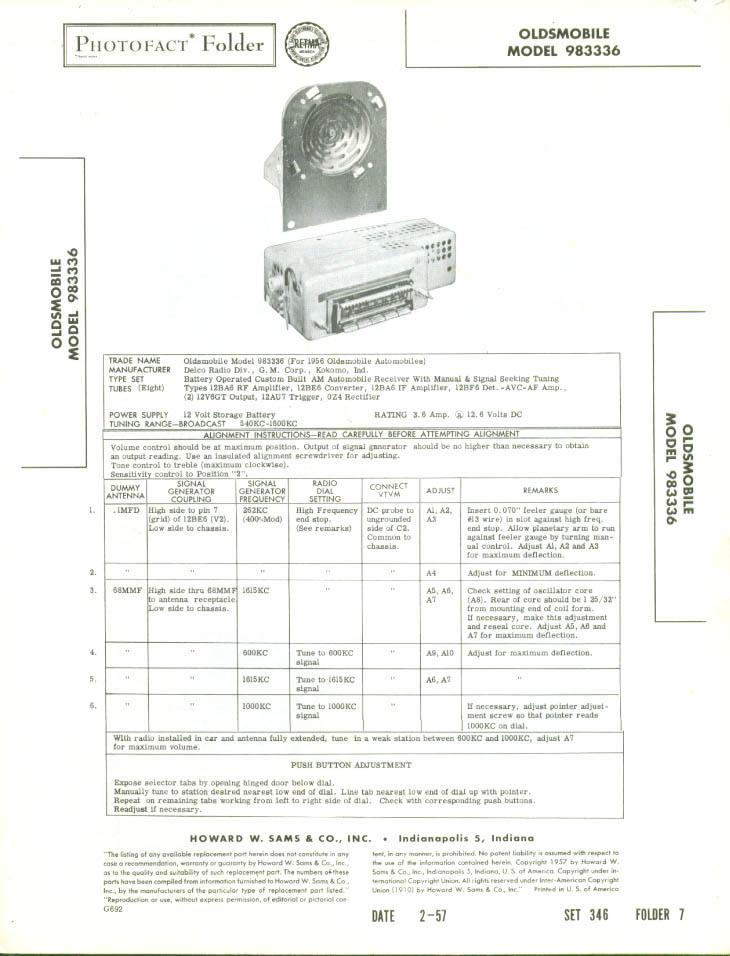 1957 Oldsmobile Radio Model 983336 Photofact Folder