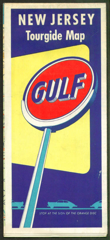 Gulf Gasoline Road Map New Jersey 1953