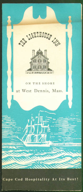 Lighthouse Inn West Dennis MA folder 1950s