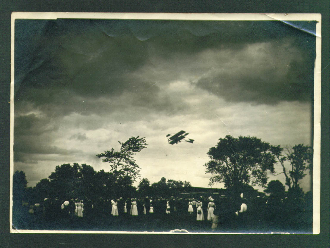 Curtiss biplane over Hartford CT 1911 5x7 photograph