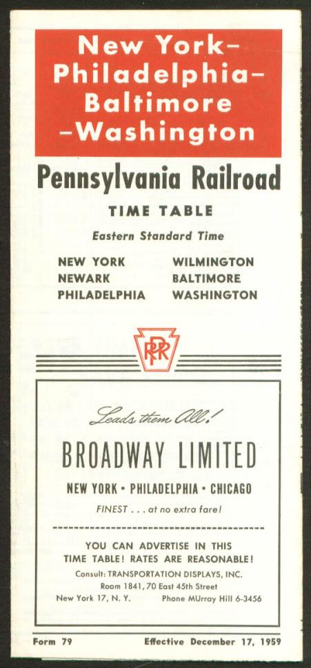 Image for Pennsylvania RR NY-Phila-Balto-Wash DC timetable 1959