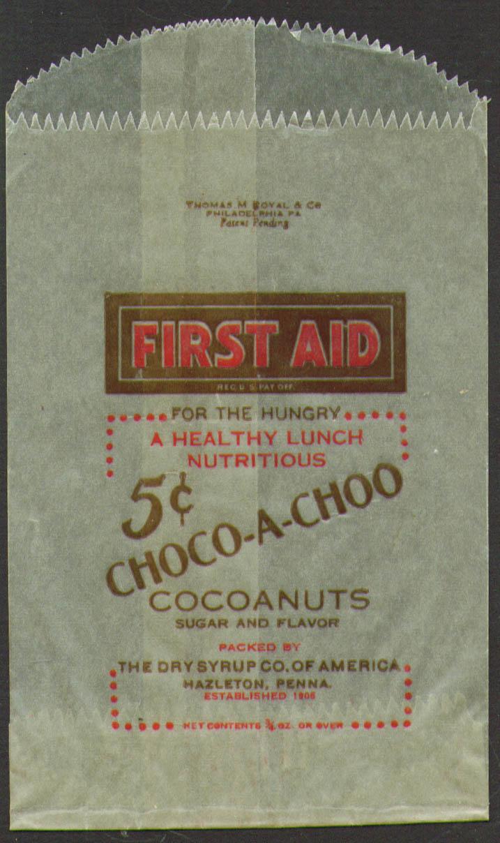First Aid Choco-a-Choo Cocoanuts Dry Syrup Co Hazelton PA wax paper bag 1940s
