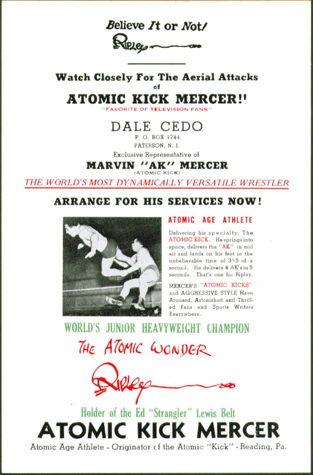 Wrestler Marvin Atomic Kick Mercer promo pack 1950s