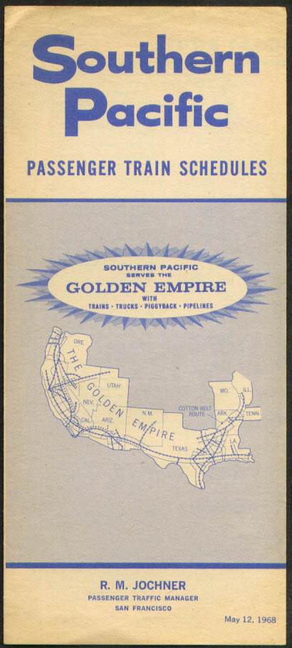 Image for Southern Pacific Railroad Golden Empire Passenger Train Schedules 5/12/1968