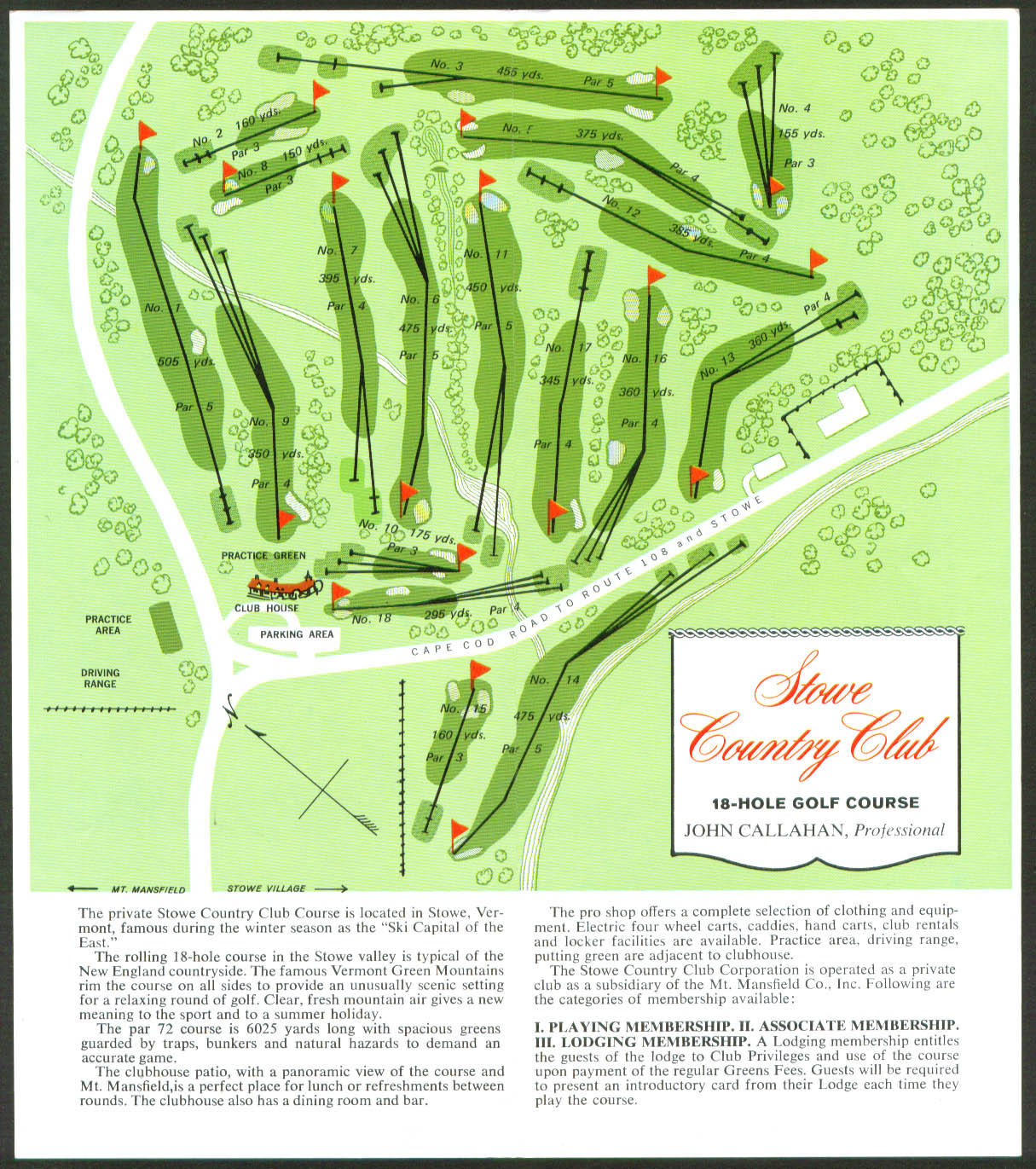 Stowe Country Club Stowe VT folder 1973