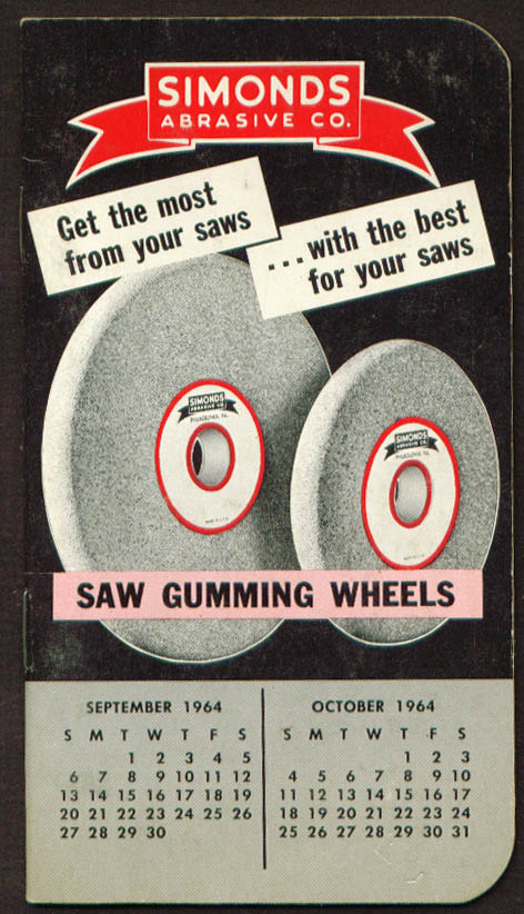 Simonds Abrasive Co Saw Gumming Wheels pocket notebook 1964