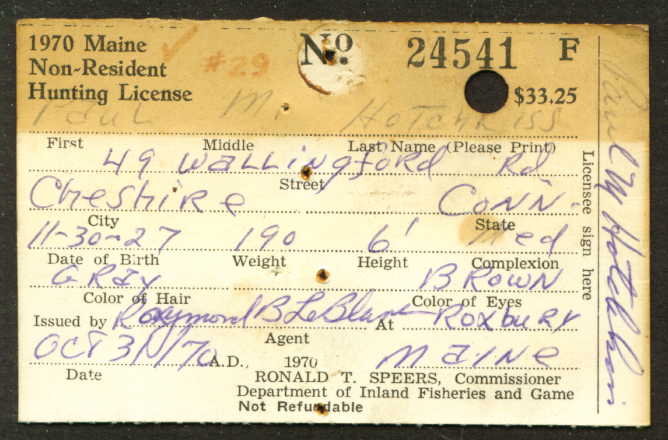 1970 Maine Non-Resident Hunting License