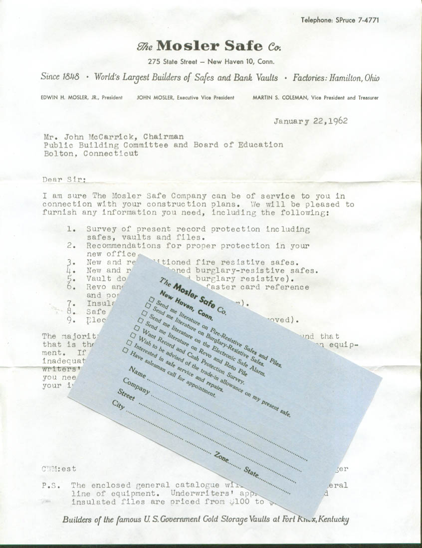 Mosler Safe catalog cover letter & reply card 1962