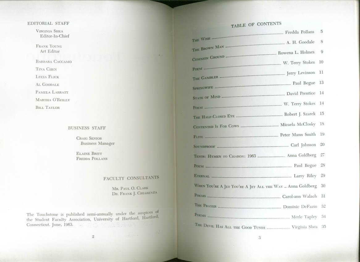 University of Hartford Touchstone magazine 6/1963
