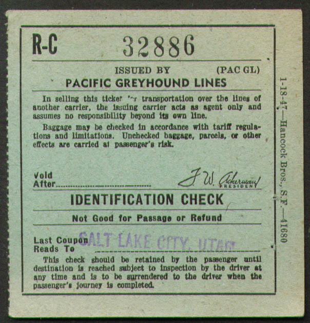 Image for Pacific Greyhound Bus Lines check Salt Lake City 1949