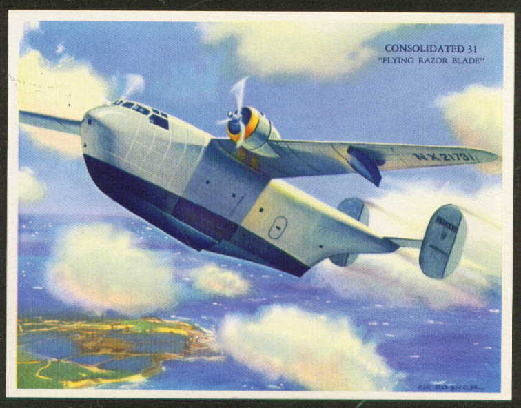Consolidated 31 Flying Boat by Rosner color print 1943