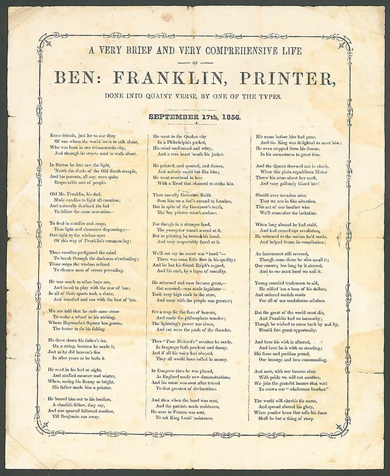 Life Ben Franklin Printer in Quaint Verse Sept 17 1856