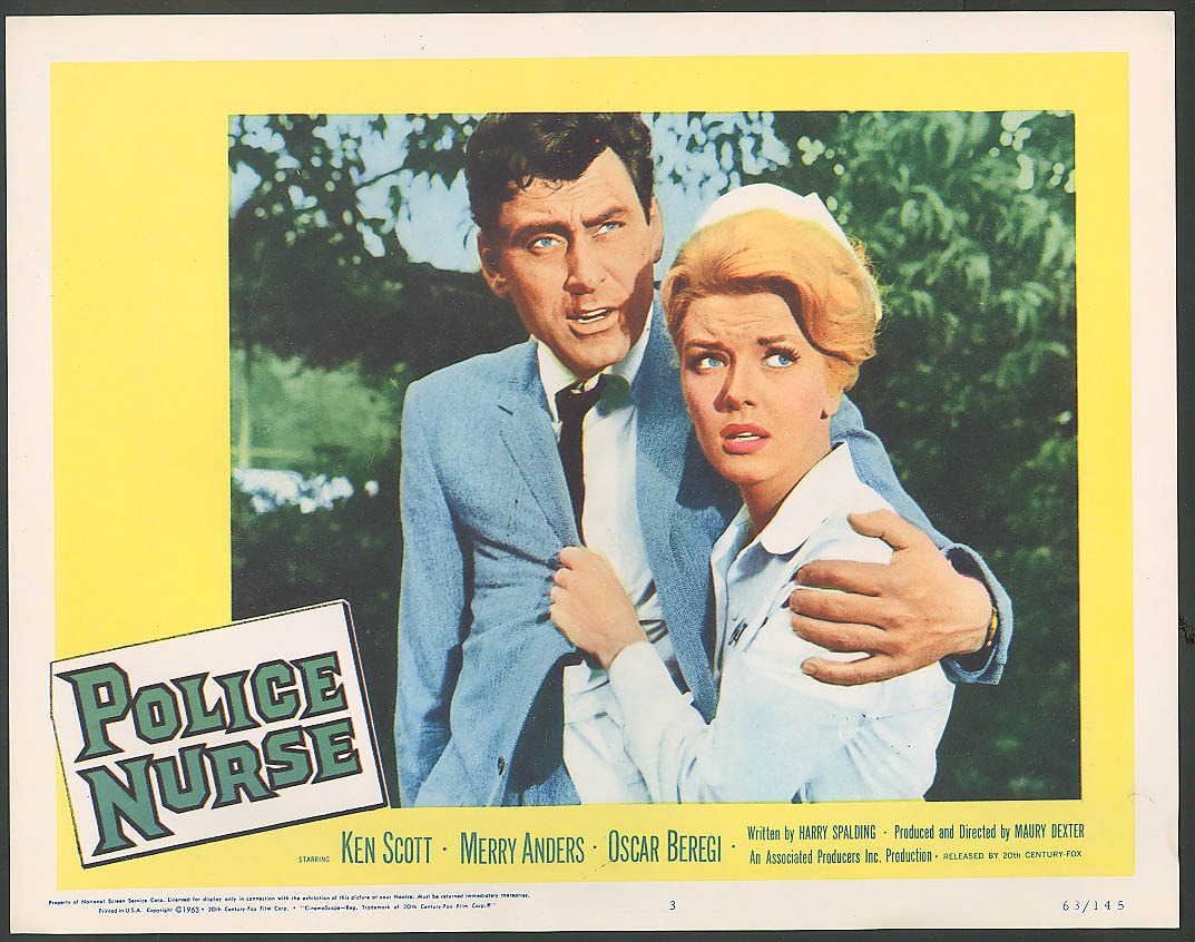 Ken Scott Merry Anders Police Nurse lobby card 1963 #2