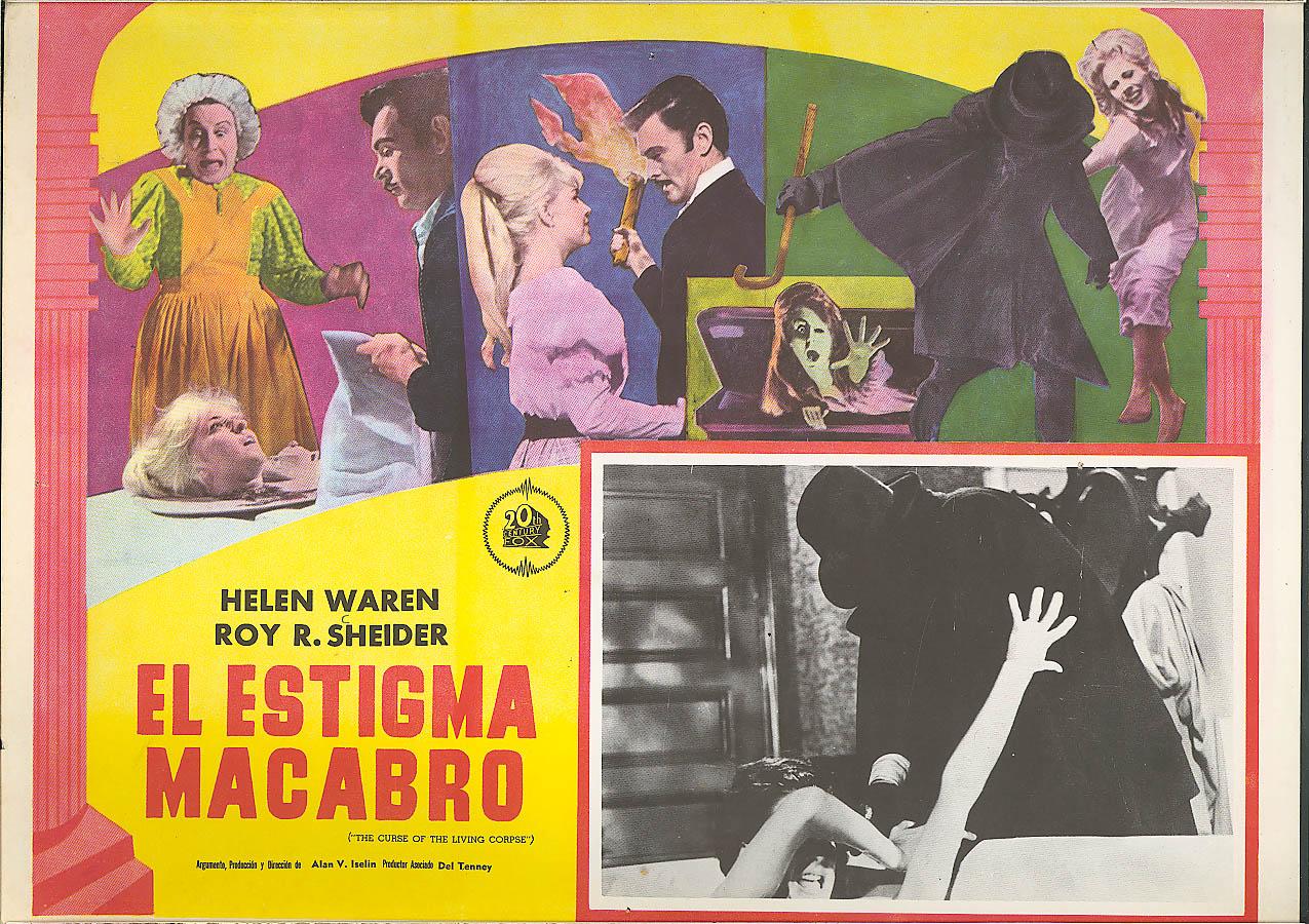 Image for Roy Scheider Curse of Living Corpse lobby card Mexico 1964 El Estigma Macabro