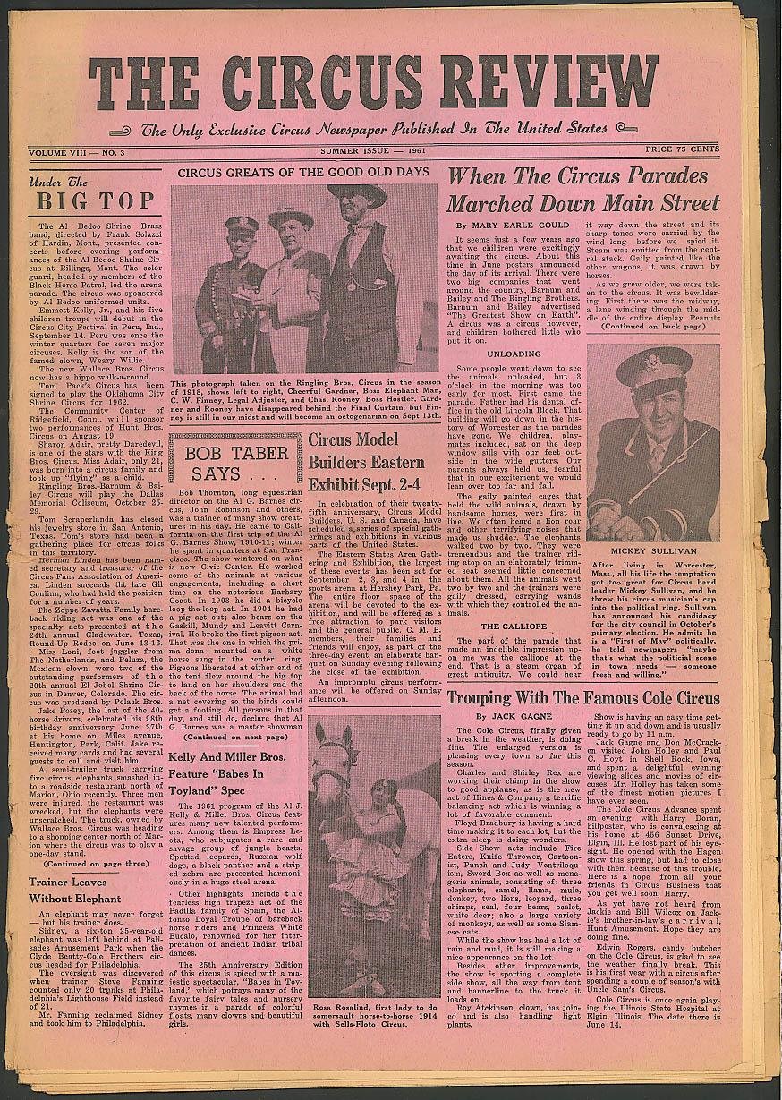 Circus Review Tabloid newspaper Summer 1961