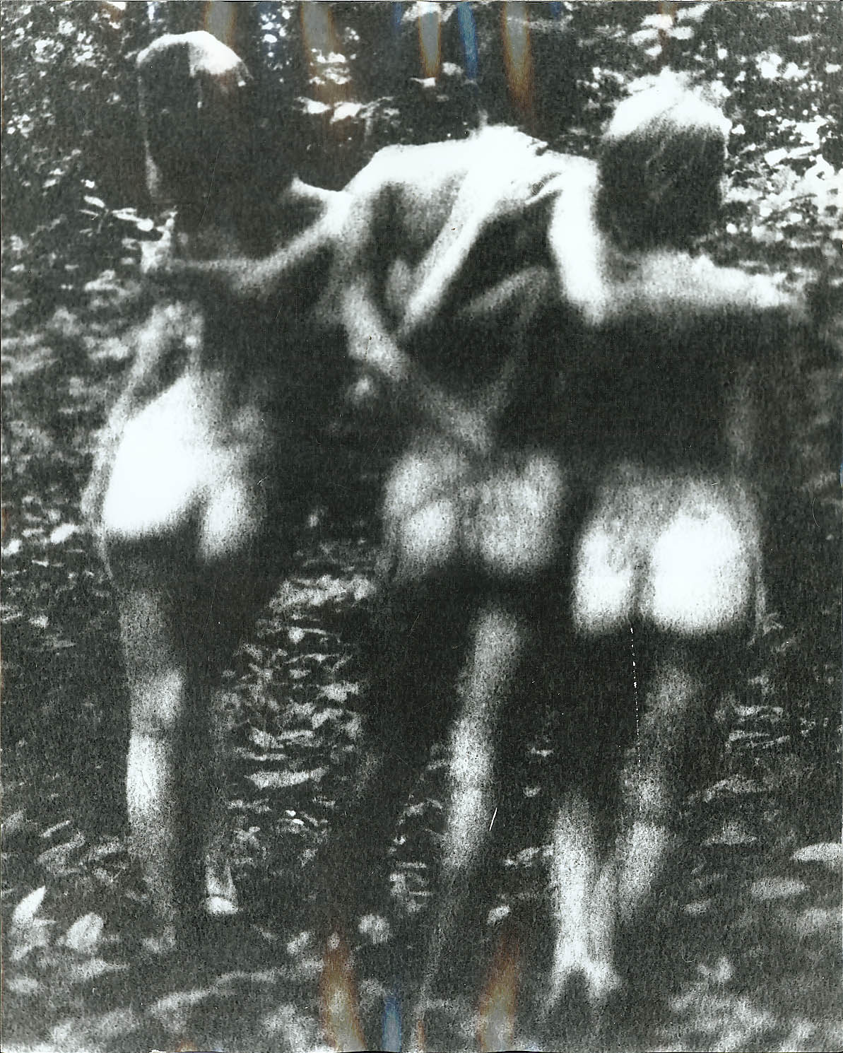 3 nudes in woods walk away Gene Szafran photo 1960s