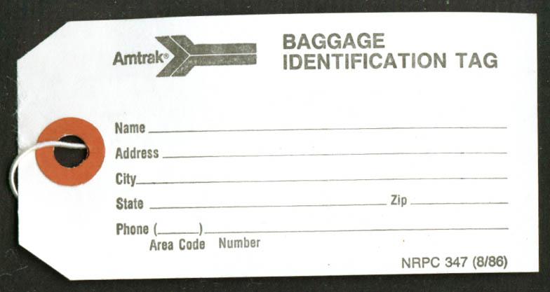 Image for AMTRAK Baggage Identification Tag 1986 unused