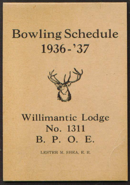 BPOE Elks Willimantic Bowling Schedule 1936-37 CT