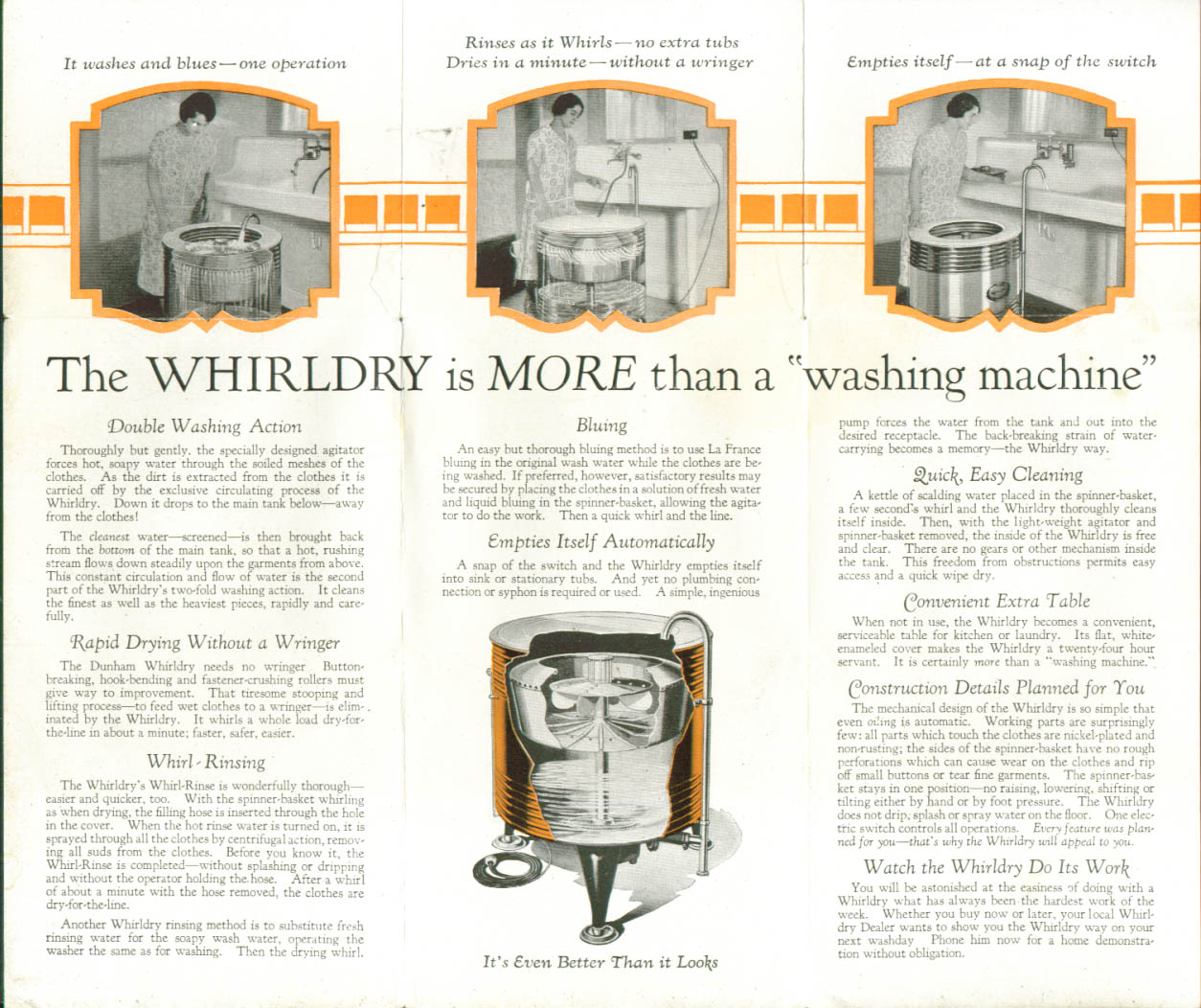 Whirldry Washing Machine folder Dunham Utica NY 1926