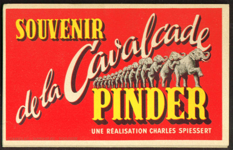 Souvenir Cavalcade Pinder Circus accordion fold 1950