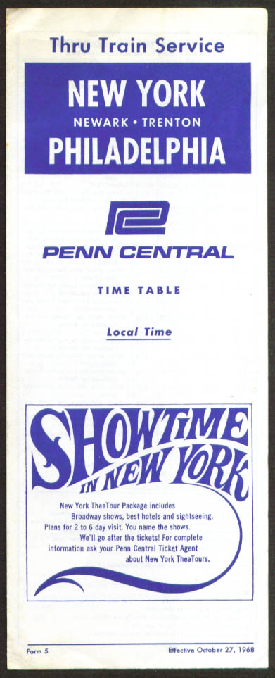 Image for Penn Central NY-Philadelphia Thru Service Timetable '68