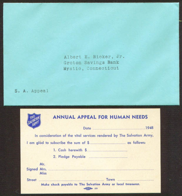 Salvation Army Appeal Human Needs letter Mystic CT 1948