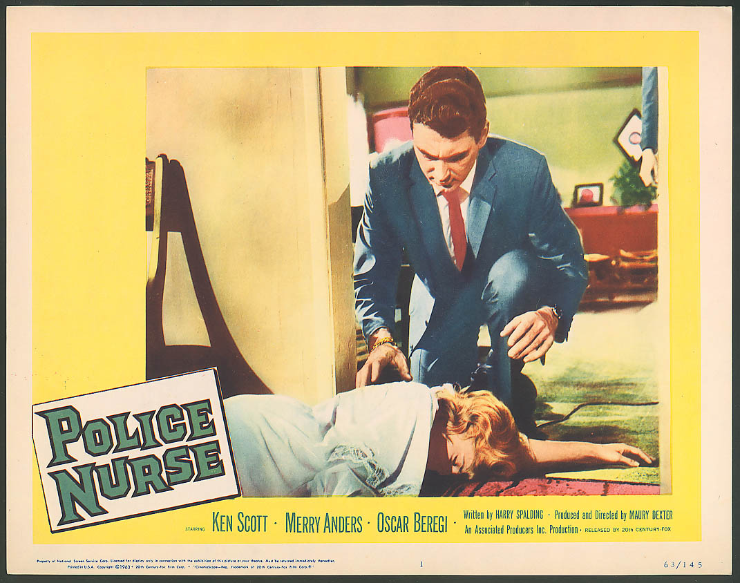 Ken Scott Merry Anders Police Nurse lobby card 1963 #5