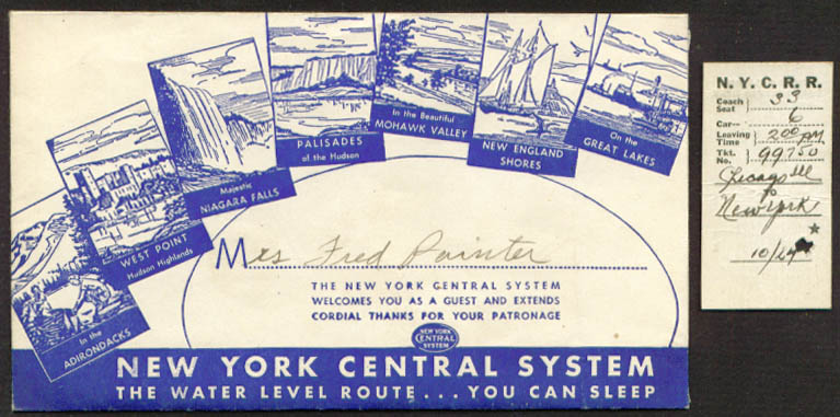 New York Central RR Ticket envelope & stub 1945