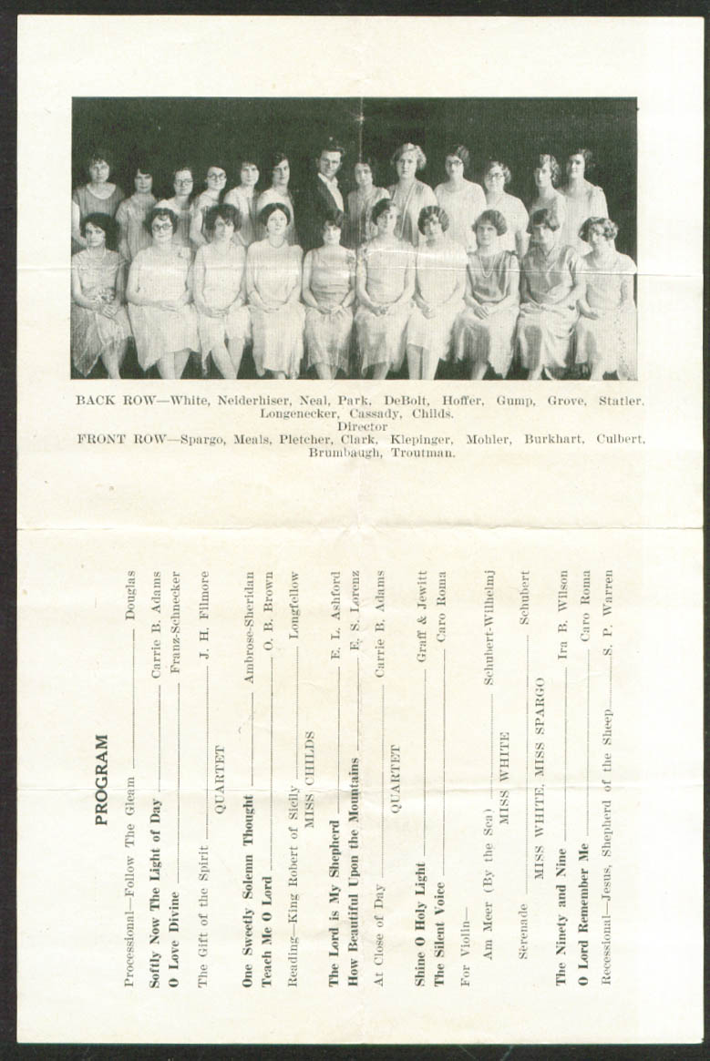 Juniata College Girls Glee Club program 1926