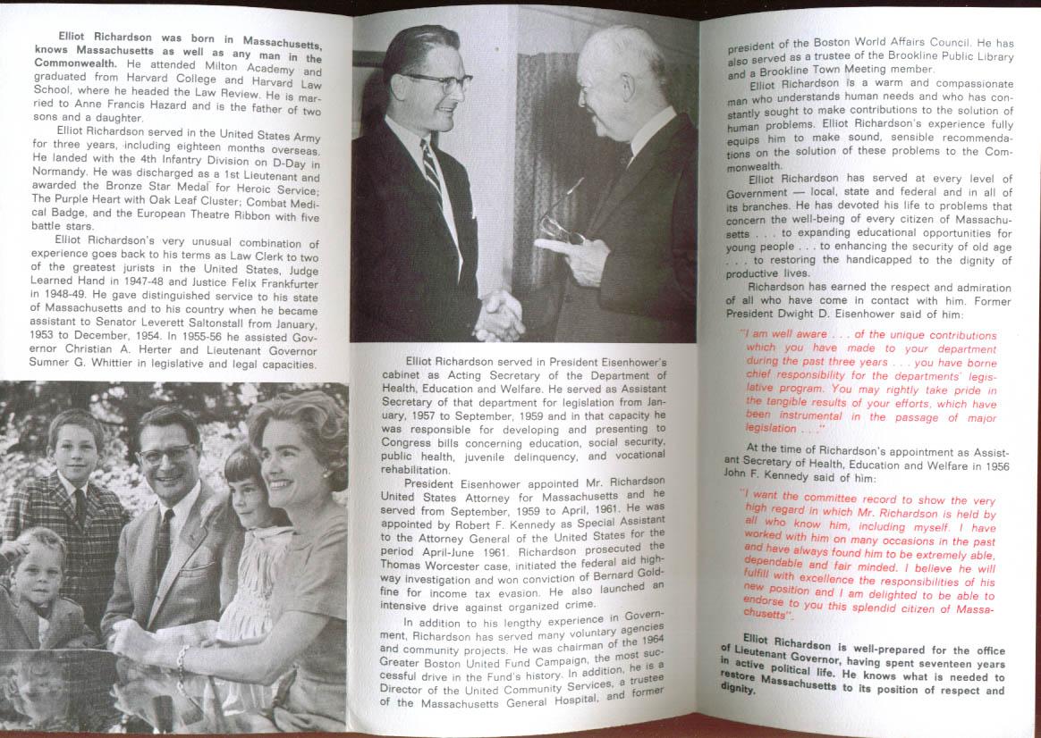 Eliot Richardson for Massachusetts Lt Governor folder 1965