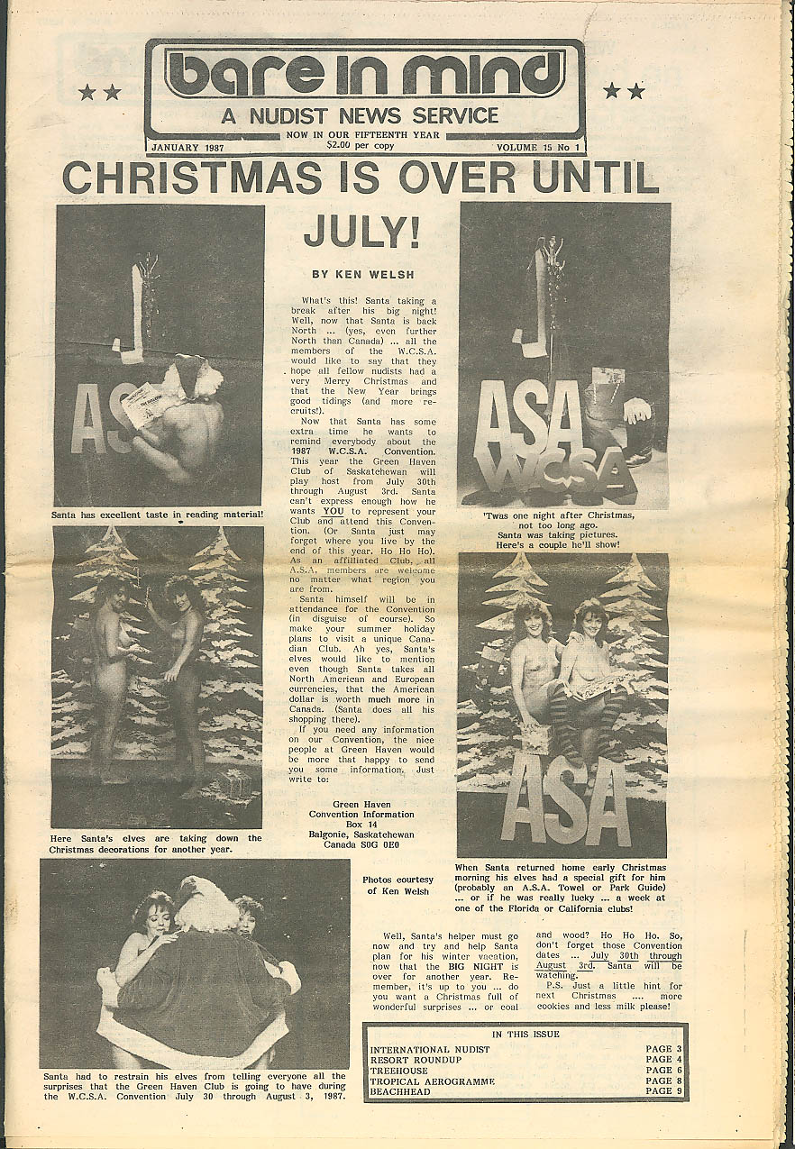 Xmas in July: Bare in Mind Nudist News Service 1/87