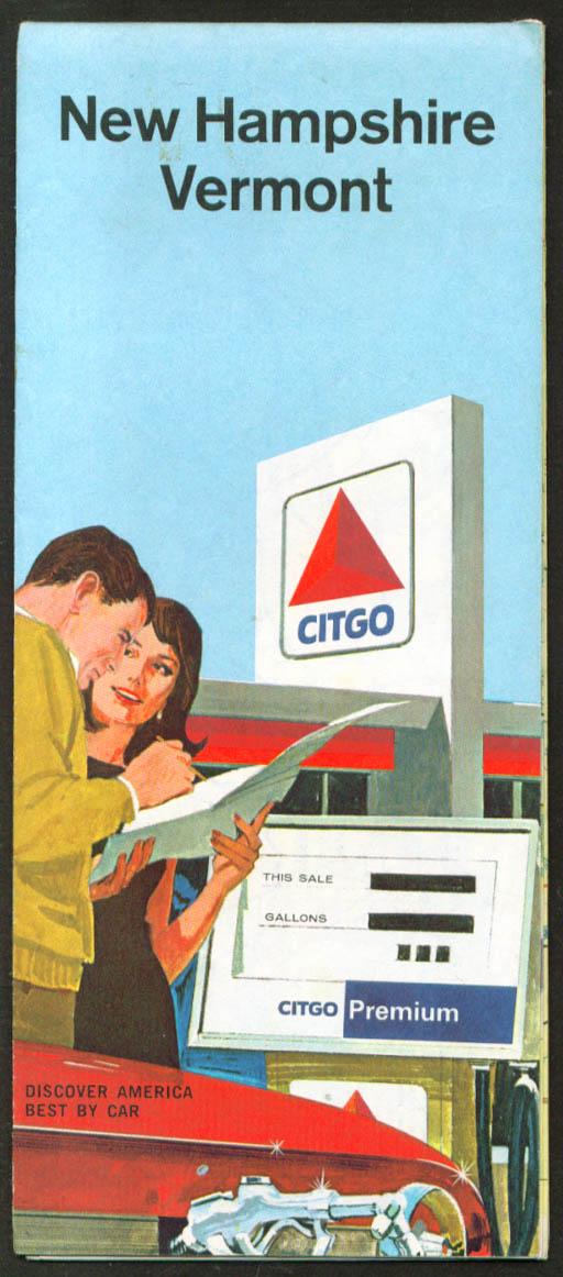 Citgo Gasoline Road Map New Hampshire Vermont 1966