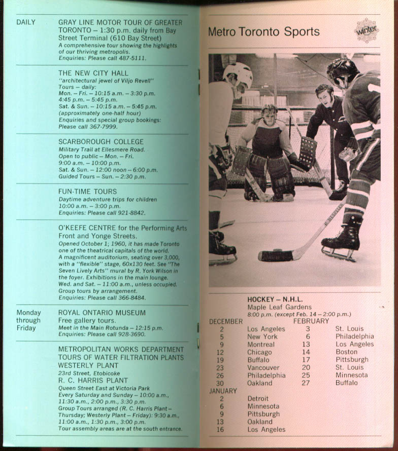 Metro Toronto Happenings Winter 1970-1971 ON