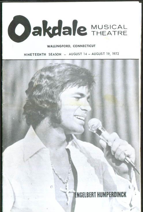Englebert Humperdinck & Bobby Ramsen Oakdale Musical Theatre program 1972